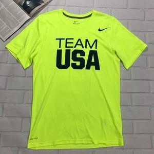 Nike Team USA lime green neon yellow tee shirt
